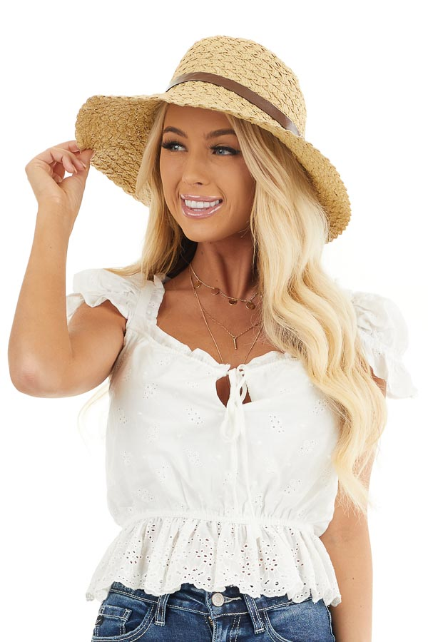 Natural Straw Wide Brim Hat with Leather Belt Detail