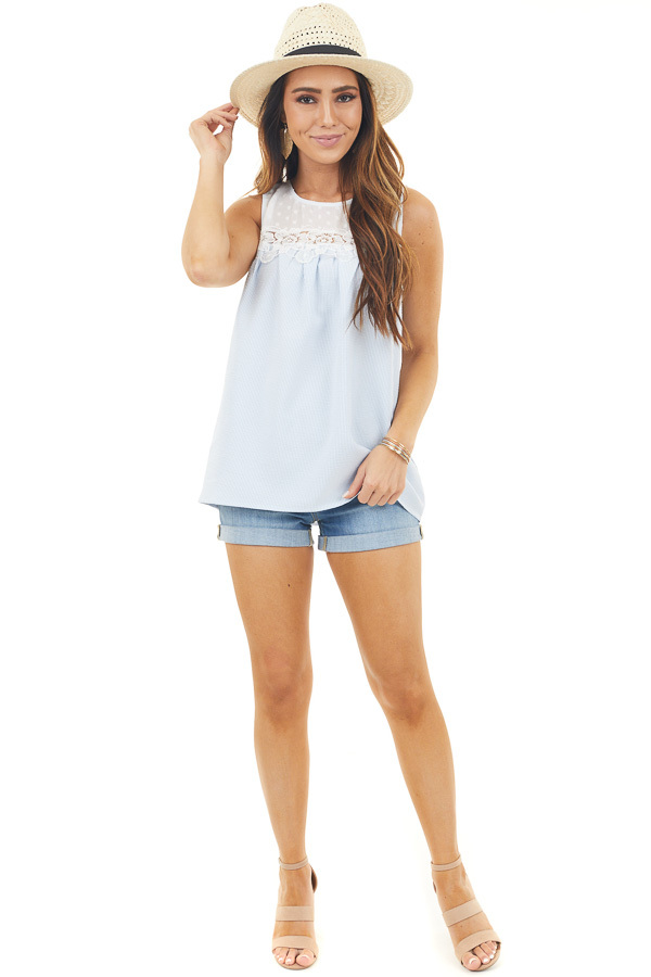 Baby Blue and White Striped Babydoll Top with Lace Details
