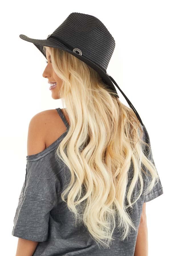 Black Straw Wide Brim Hat with Faux Leather Belt Detail