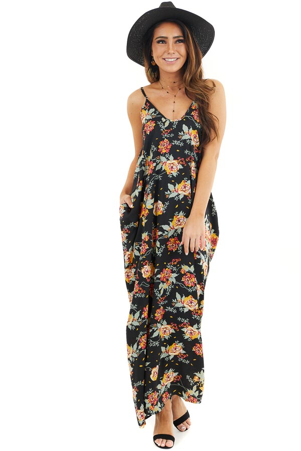 Black Floral Print Sleeveless Maxi Dress with Scoop Neckline front full body