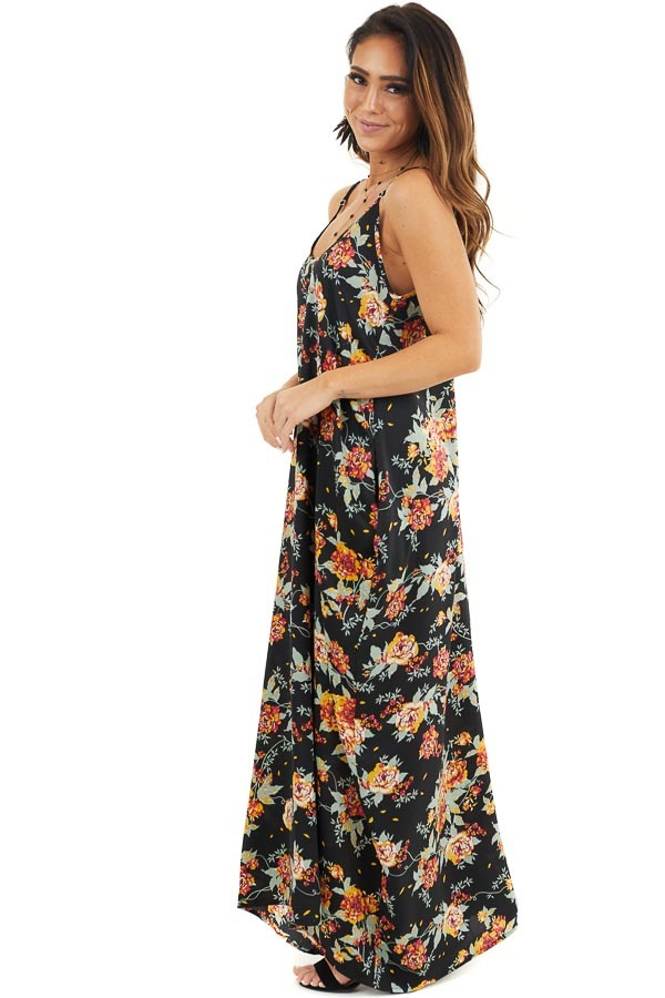 Black Floral Print Sleeveless Maxi Dress with Scoop Neckline side full body