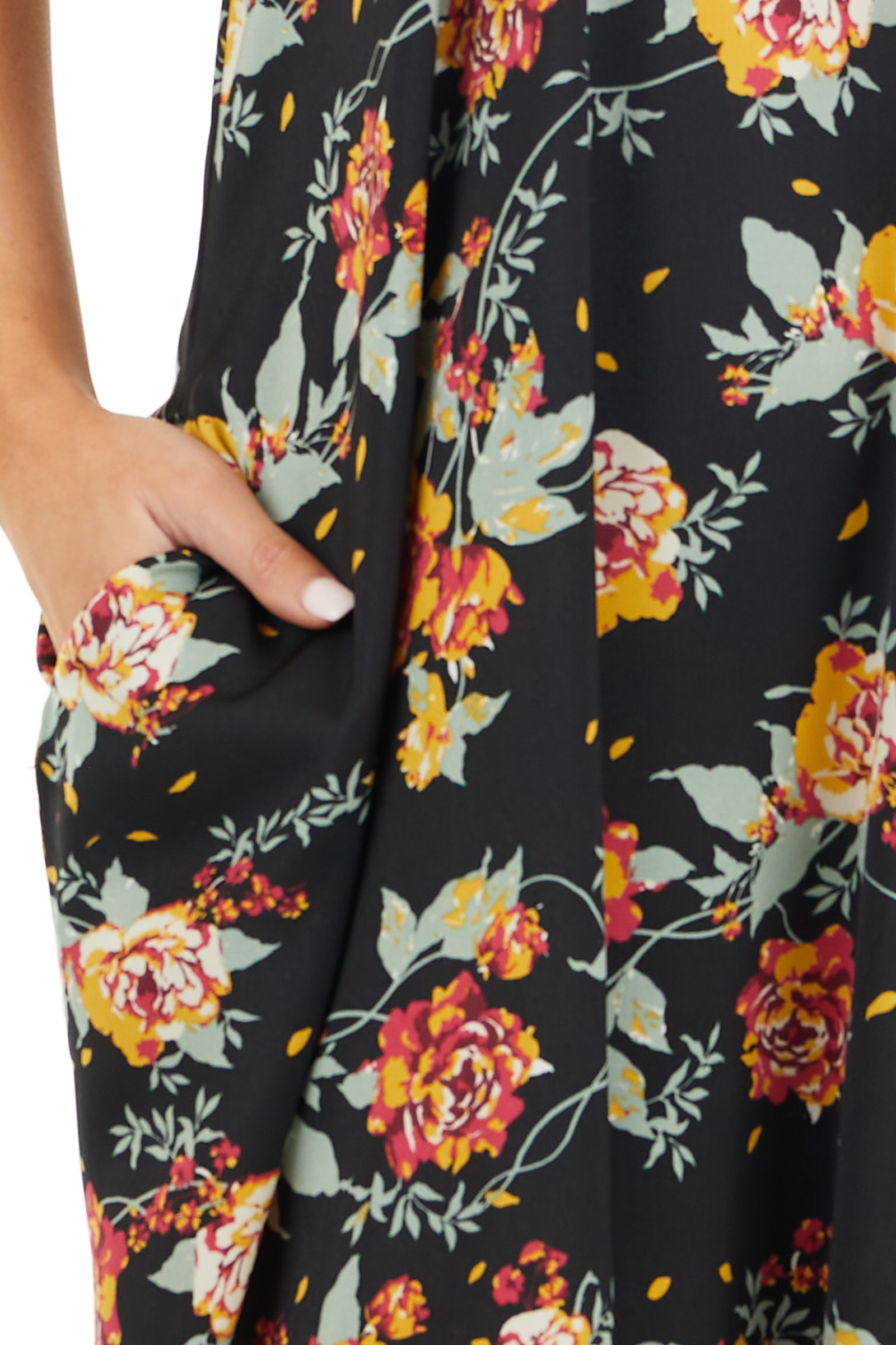 Black Floral Print Sleeveless Maxi Dress with Scoop Neckline detail