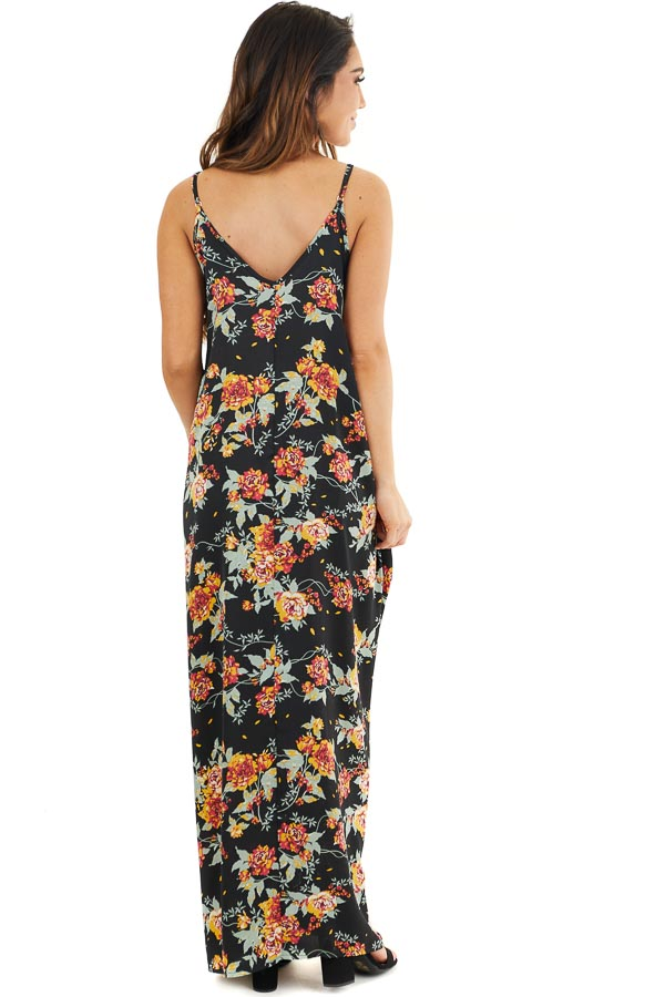 Black Floral Print Sleeveless Maxi Dress with Scoop Neckline back full body