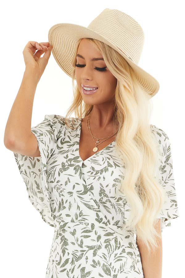 Natural Straw Wide Brim Hat with Faux Leather Belt Detail