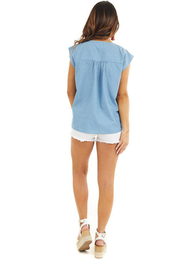 Light Blue Short Sleeve Top with Embroidered Details back full body