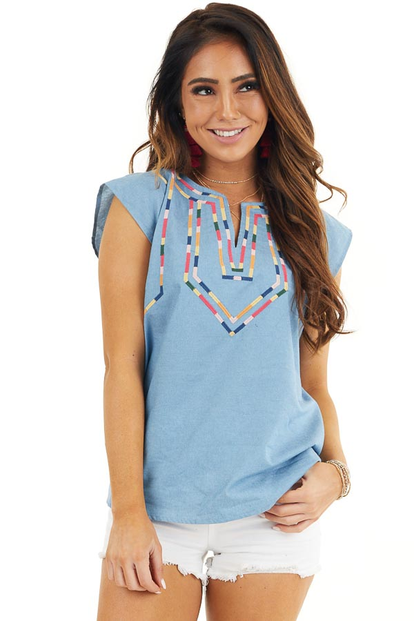 Light Blue Short Sleeve Top with Embroidered Details front close up