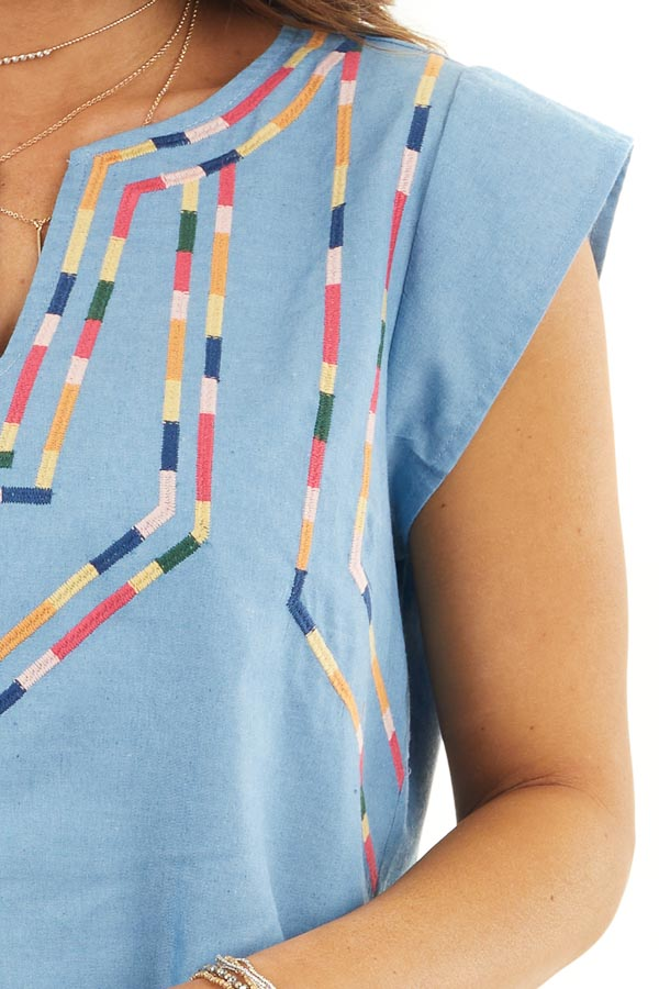 Light Blue Short Sleeve Top with Embroidered Details detail