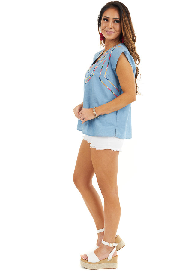 Light Blue Short Sleeve Top with Embroidered Details side full body
