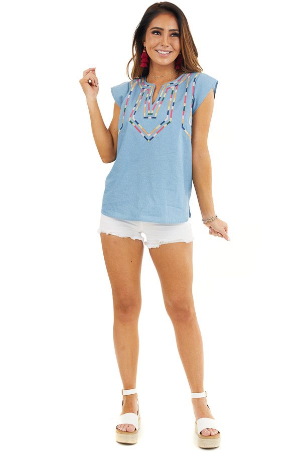 Light Blue Short Sleeve Top with Embroidered Details front full body