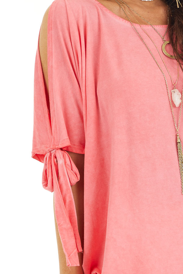 Coral Mineral Wash Cold Shoulder Loose Fit Tunic detail