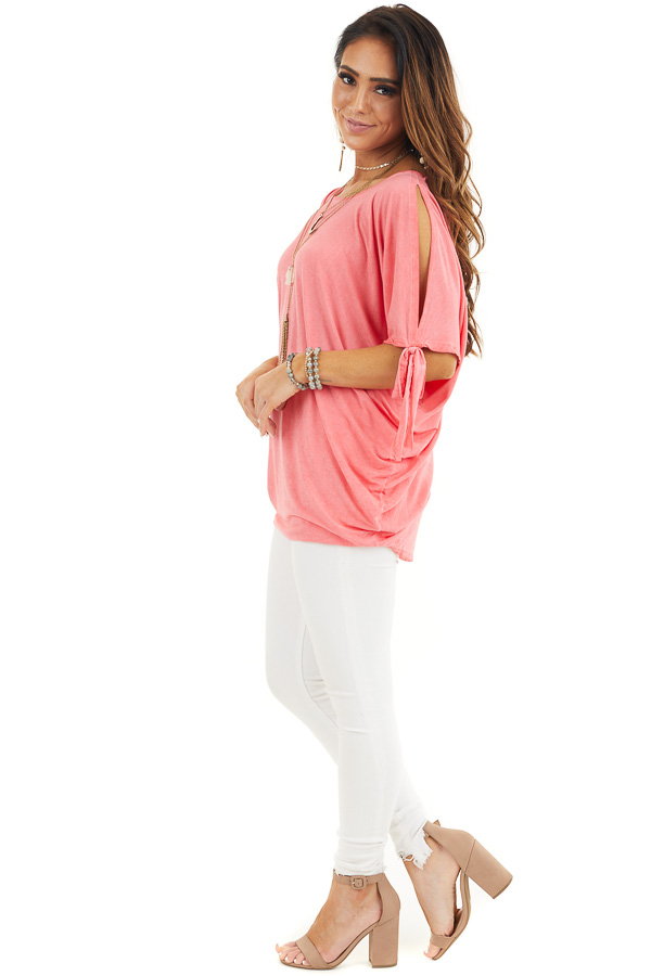 Coral Mineral Wash Cold Shoulder Loose Fit Tunic side full body