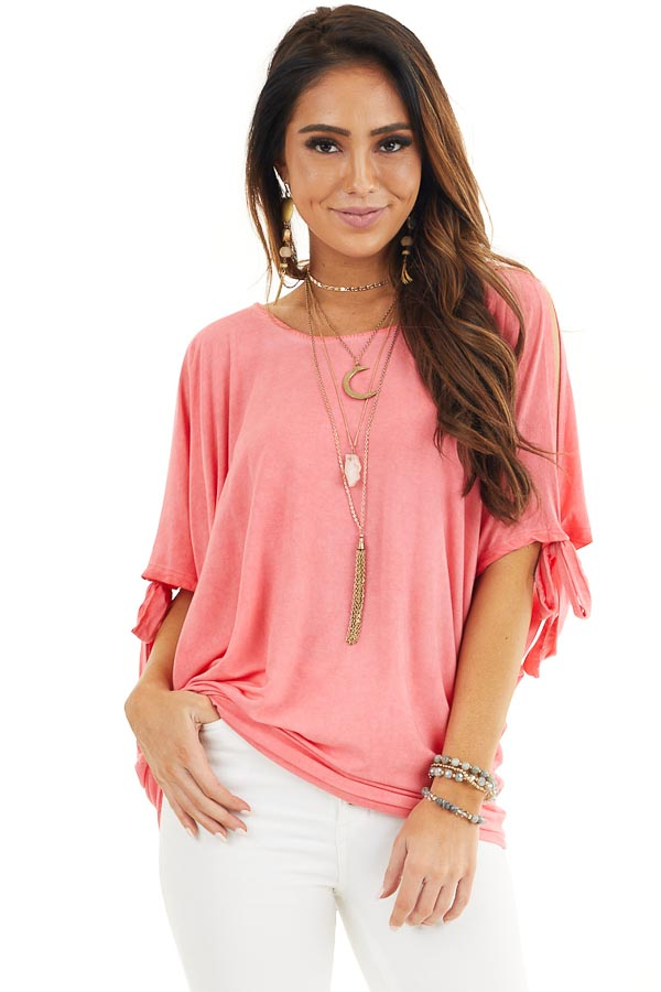 Coral Mineral Wash Cold Shoulder Loose Fit Tunic front close up