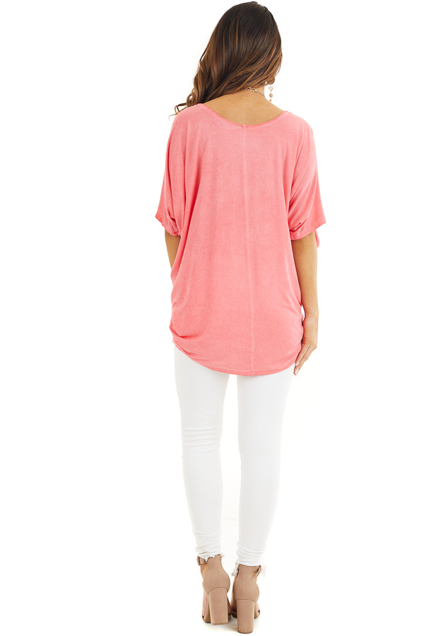 Coral Mineral Wash Cold Shoulder Loose Fit Tunic back full body