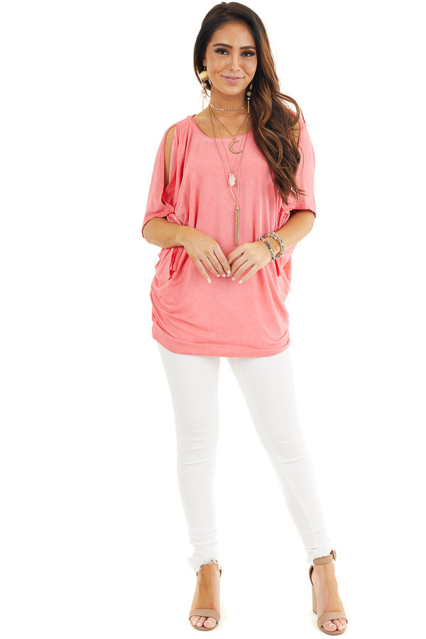 Coral Mineral Wash Cold Shoulder Loose Fit Tunic front full body
