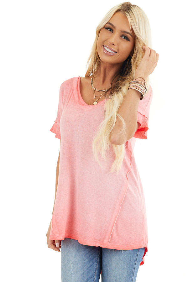 Coral Ombre Knit Top with V Neckline and High Low Hemline front close up