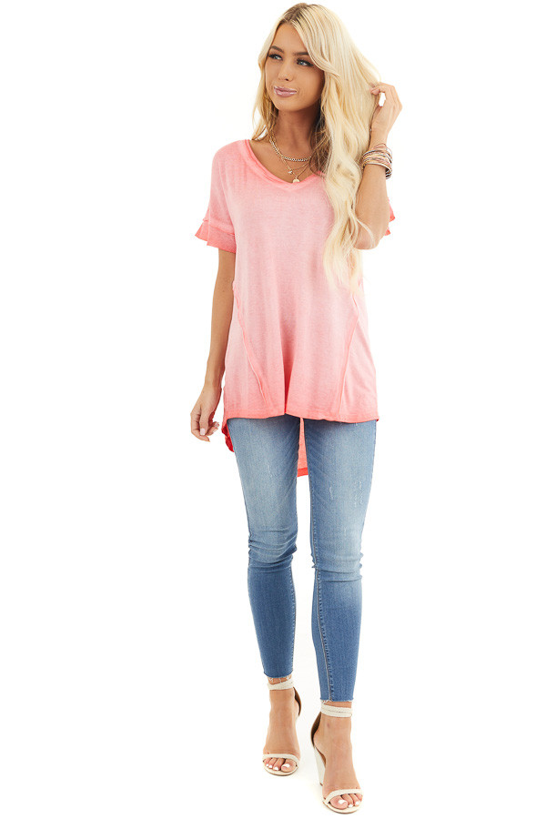 Coral Ombre Knit Top with V Neckline and High Low Hemline front full body