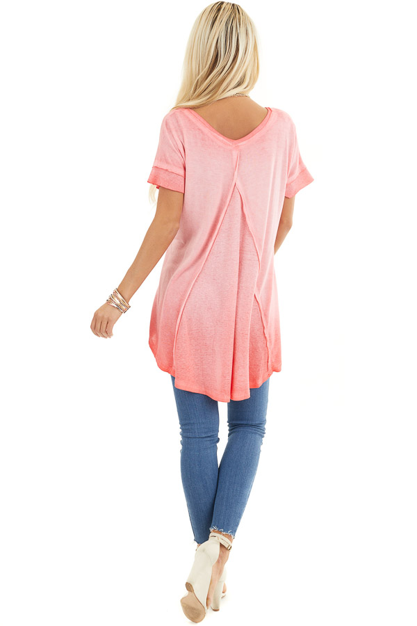 Coral Ombre Knit Top with V Neckline and High Low Hemline back full body