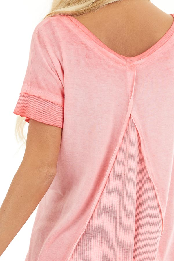 Coral Ombre Knit Top with V Neckline and High Low Hemline detail