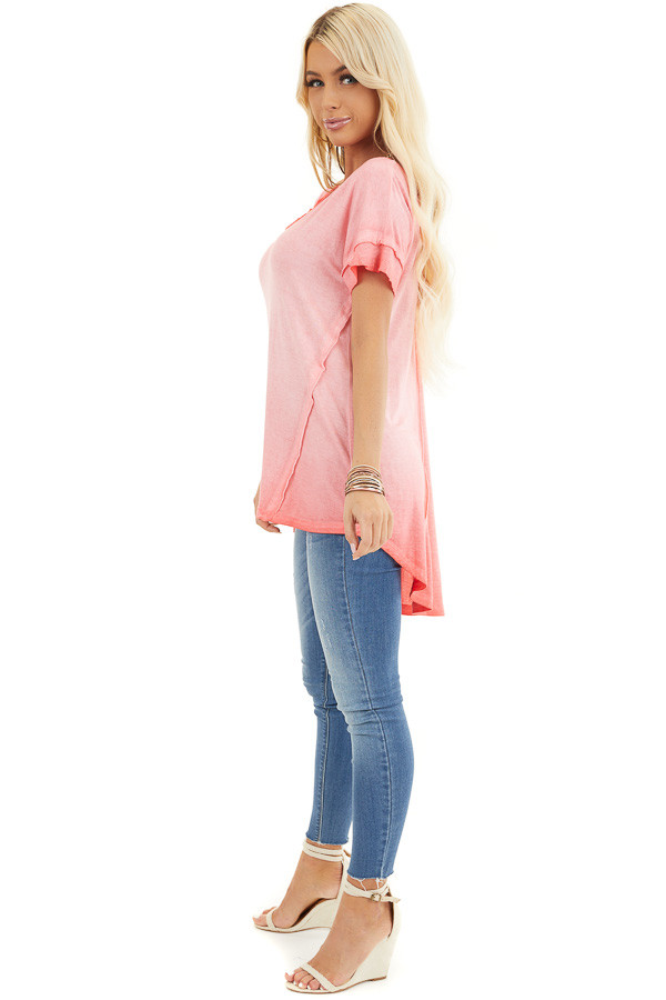 Coral Ombre Knit Top with V Neckline and High Low Hemline side full body