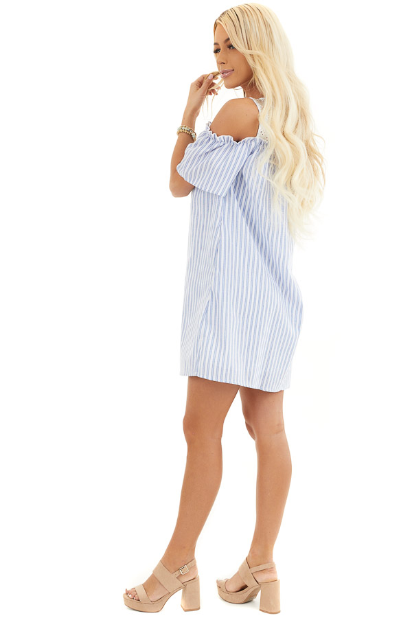 Dusty Blue Striped Cold Shoulder Dress with Eyelet Lace Yoke side full body