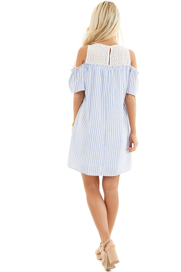 Dusty Blue Striped Cold Shoulder Dress with Eyelet Lace Yoke back full body