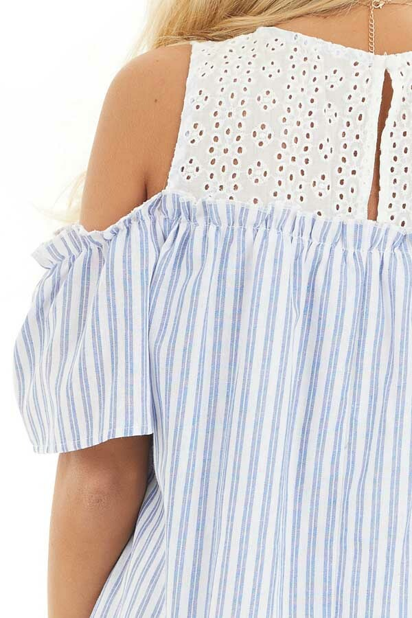 Dusty Blue Striped Cold Shoulder Dress with Eyelet Lace Yoke detail
