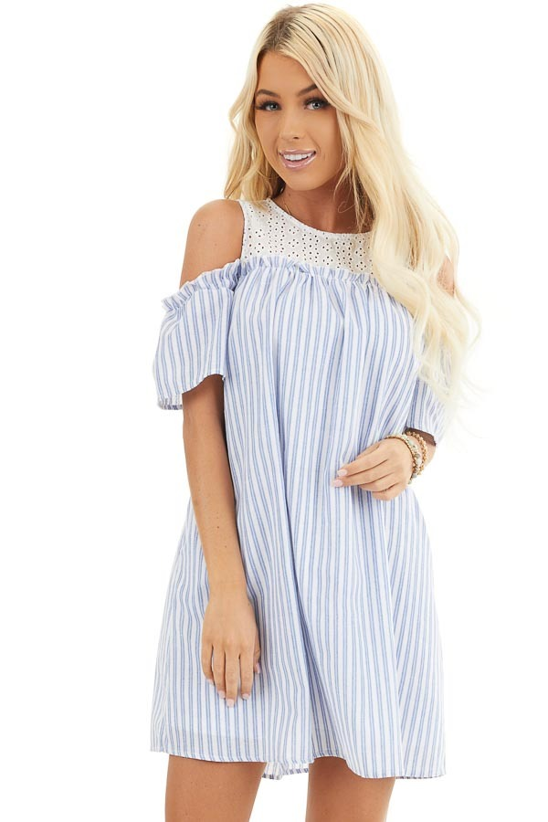 Dusty Blue Striped Cold Shoulder Dress with Eyelet Lace Yoke front close up