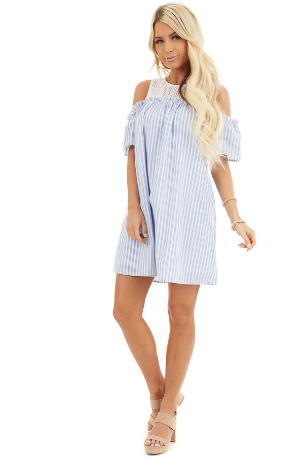Dusty Blue Striped Cold Shoulder Dress with Eyelet Lace Yoke front full body