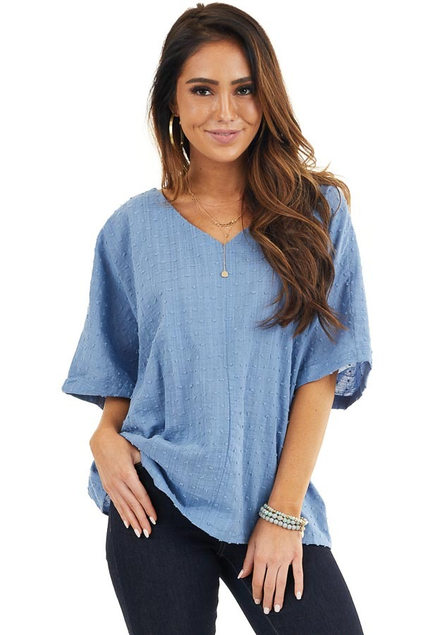 Denim Blue Swiss Dot Blouse with Criss Cross Back Detail front close up