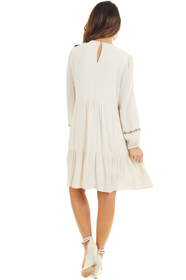 Cream Long Sleeve Mini Dress with Embroidery Details back full body