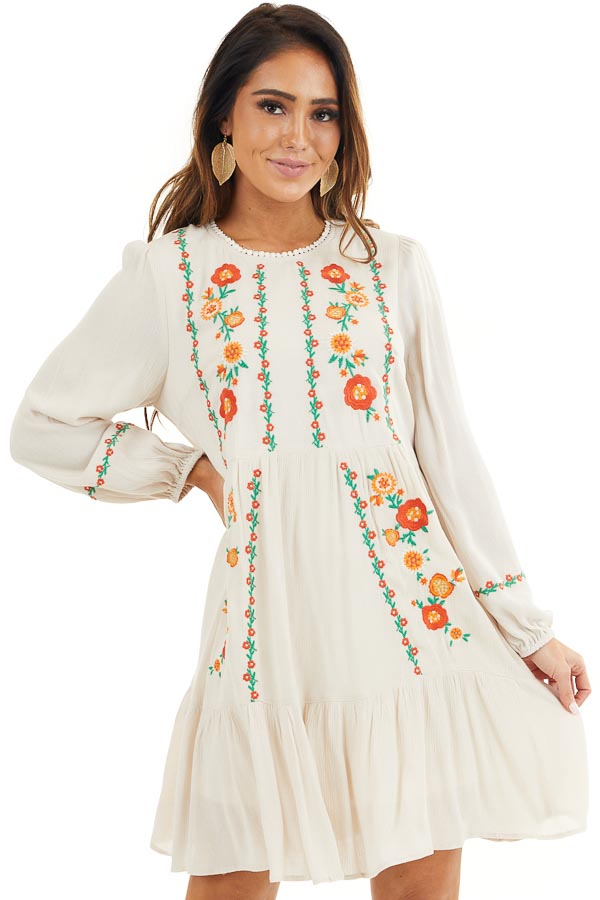 Cream Long Sleeve Mini Dress with Embroidery Details front close up