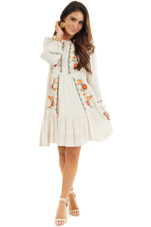 Cream Long Sleeve Mini Dress with Embroidery Details front full body