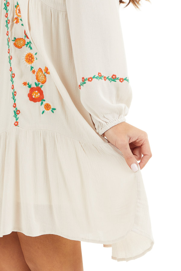 Cream Long Sleeve Mini Dress with Embroidery Details detail