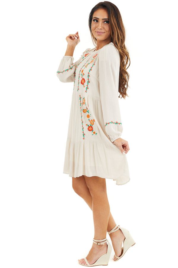 Cream Long Sleeve Mini Dress with Embroidery Details side full body