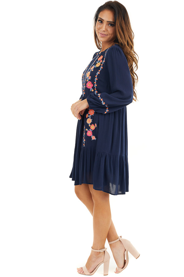 Navy Long Sleeve Mini Dress with Embroidery Details side full body
