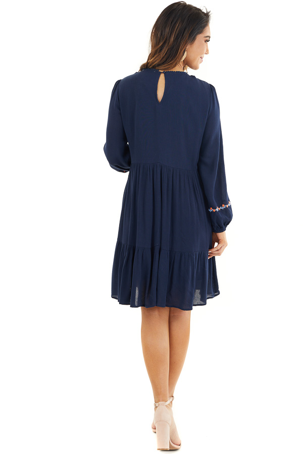 Navy Long Sleeve Mini Dress with Embroidery Details back full body