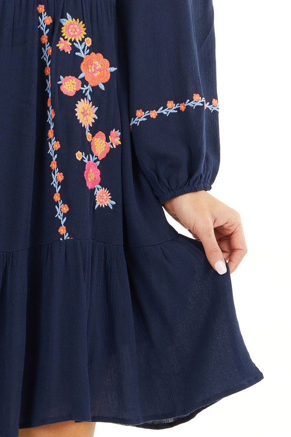 Navy Long Sleeve Mini Dress with Embroidery Details detail