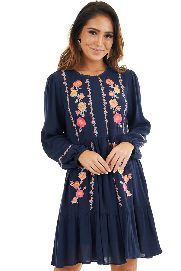 Navy Long Sleeve Mini Dress with Embroidery Details front close up