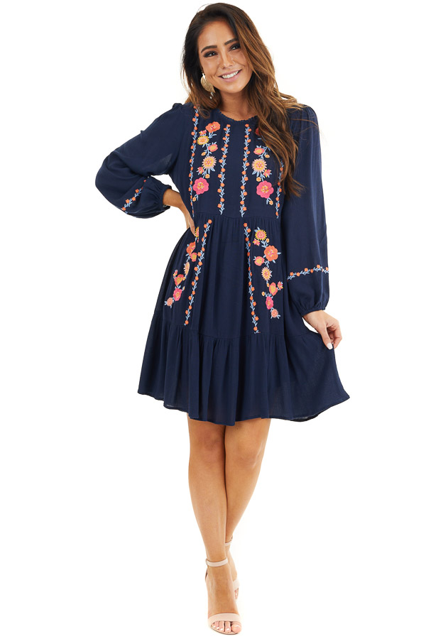 Navy Long Sleeve Mini Dress with Embroidery Details front full body