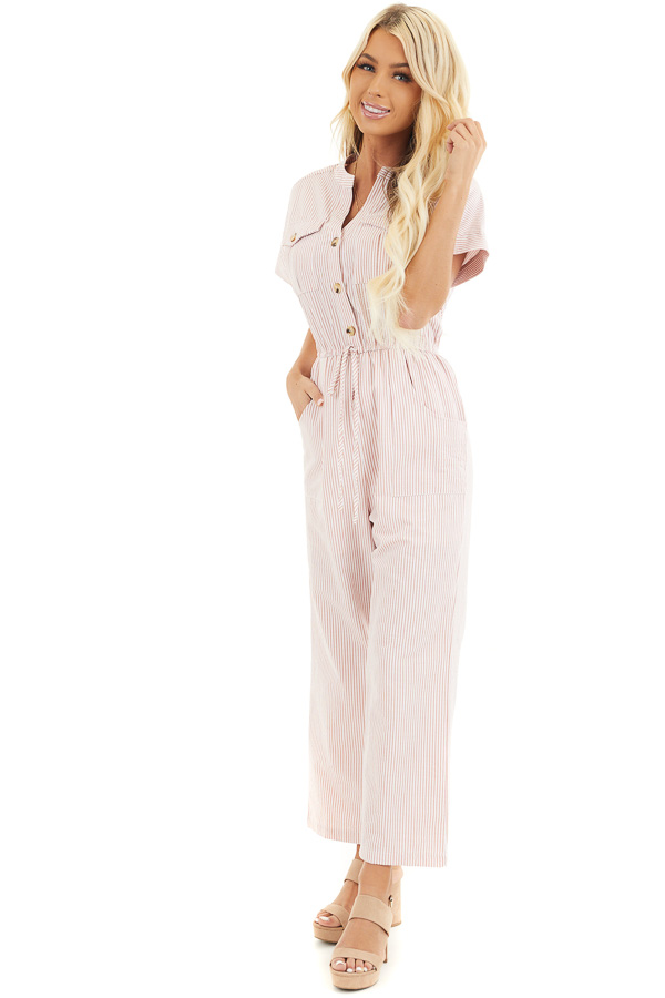 Dusty Coral Pinstripe Short Sleeve Jumpsuit with Pockets front close up
