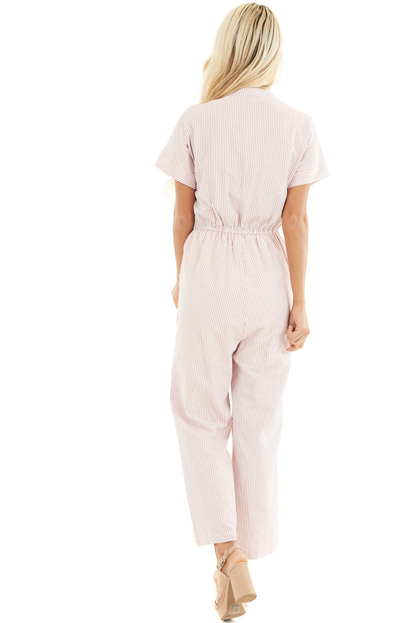 Dusty Coral Pinstripe Short Sleeve Jumpsuit with Pockets back full body