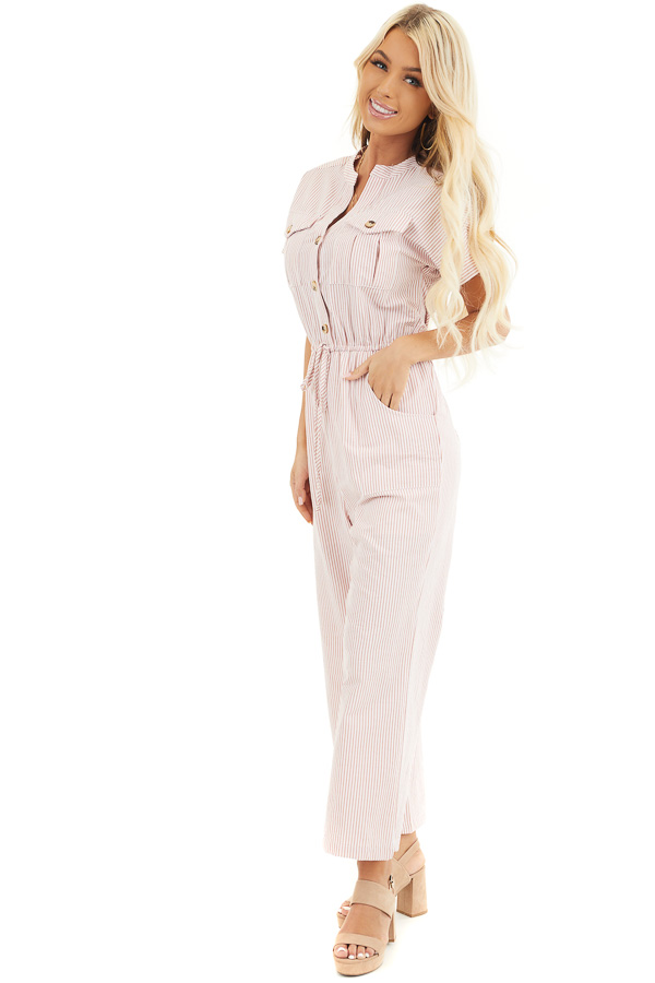 Dusty Coral Pinstripe Short Sleeve Jumpsuit with Pockets front full body