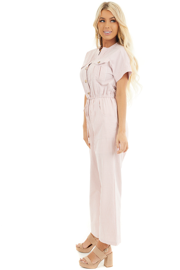 Dusty Coral Pinstripe Short Sleeve Jumpsuit with Pockets side full body