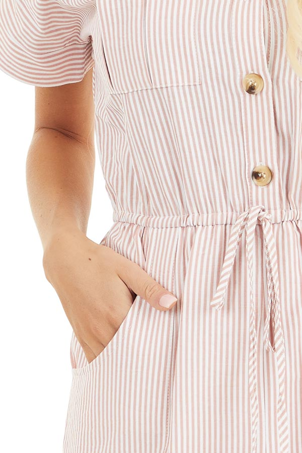 Dusty Coral Pinstripe Short Sleeve Jumpsuit with Pockets detail