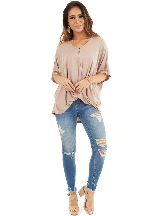 Latte Knit Top with V Neckline and Twisted Front Detail front full body