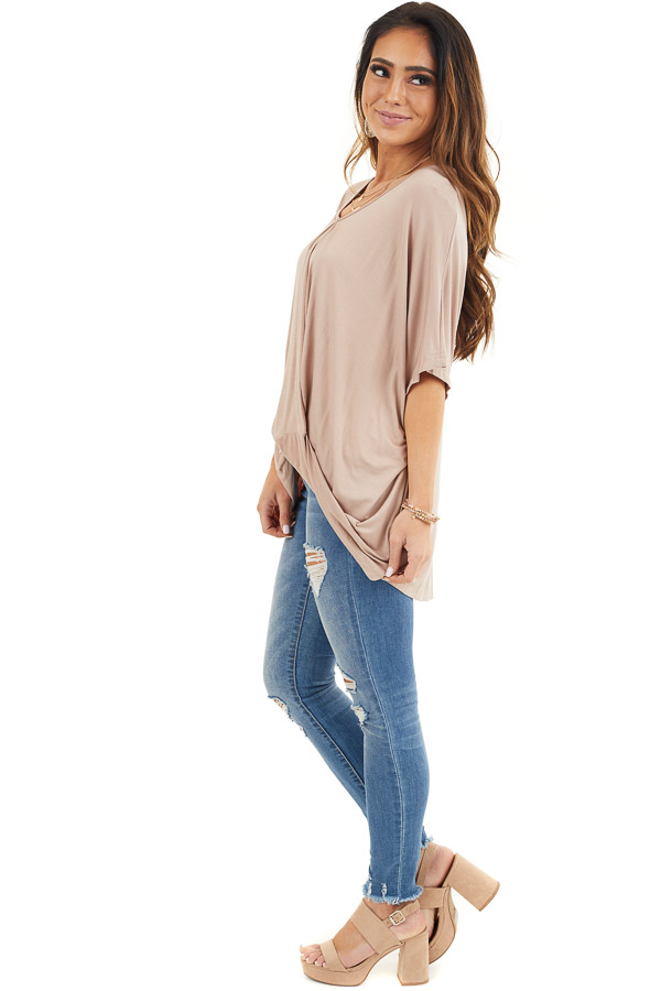 Latte Knit Top with V Neckline and Twisted Front Detail side full body