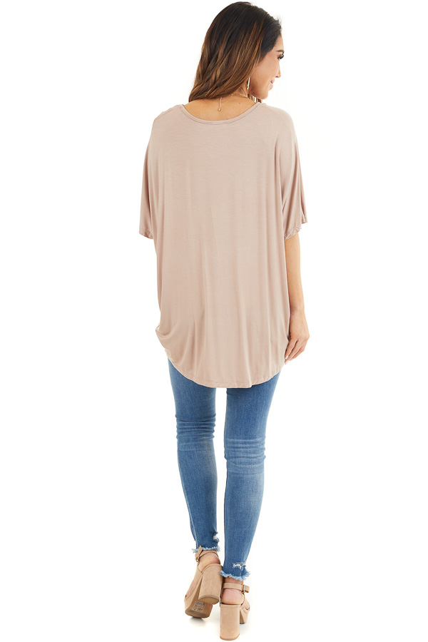 Latte Knit Top with V Neckline and Twisted Front Detail back full body