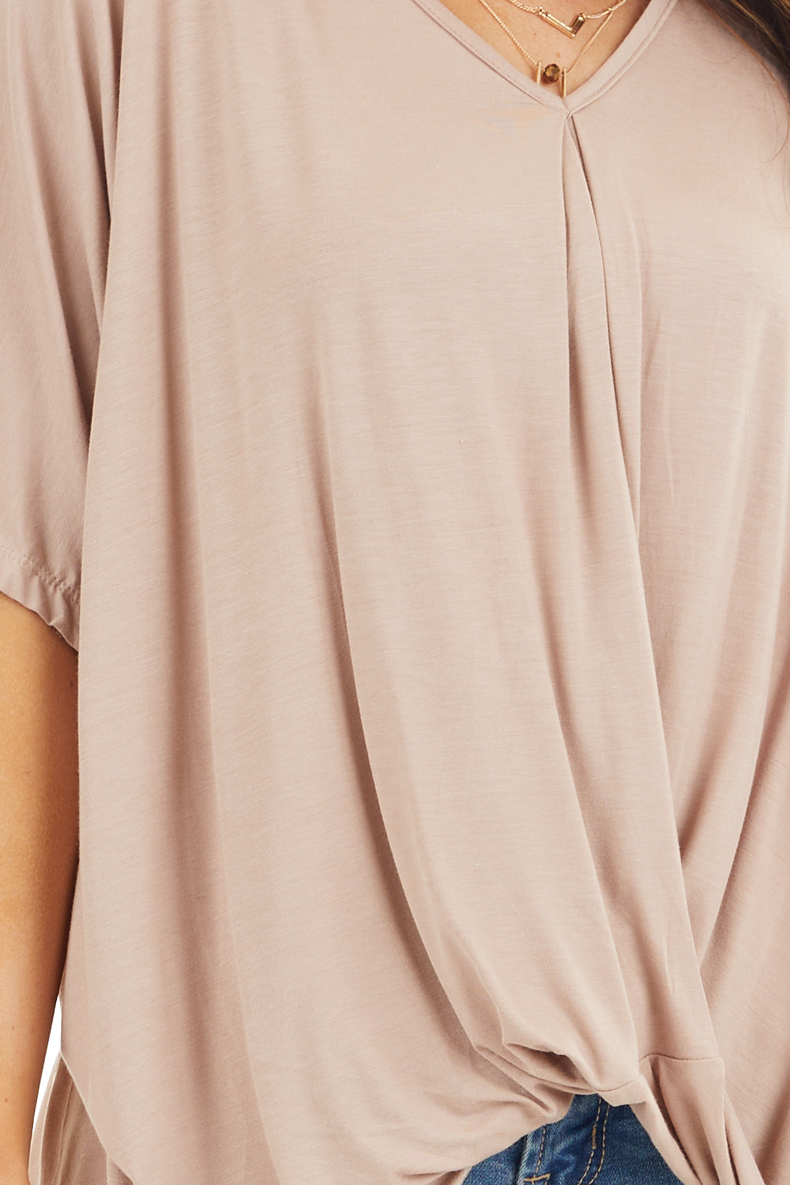 Latte Knit Top with V Neckline and Twisted Front Detail detail