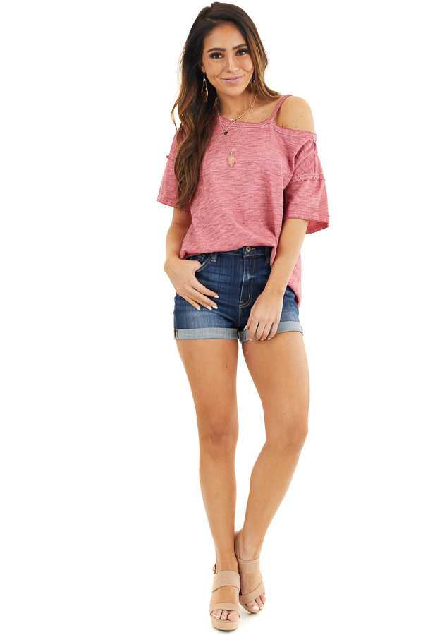 Berry Mineral Washed Short Sleeve Top with One Cold Shoulder front full body