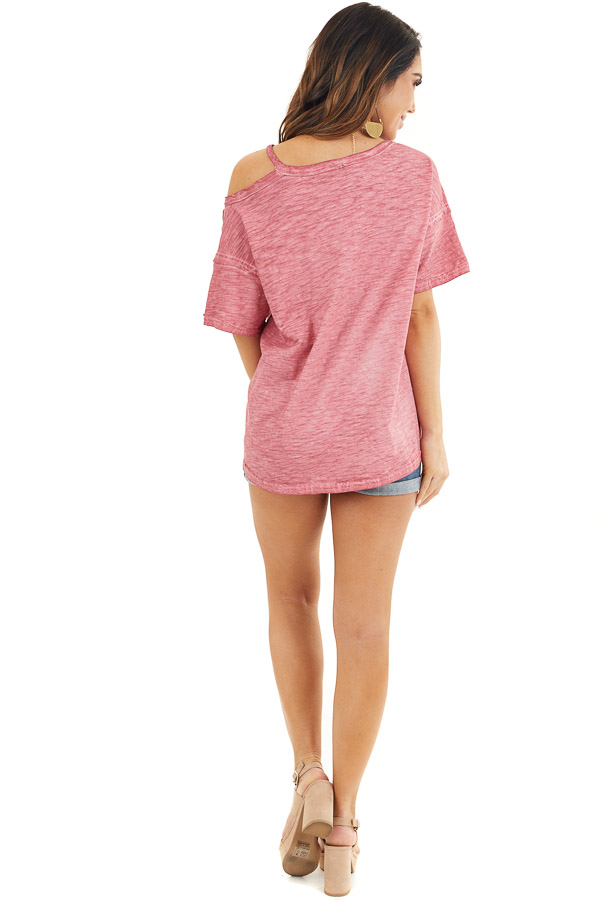 Berry Mineral Washed Short Sleeve Top with One Cold Shoulder back full body